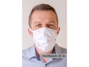 Bílá pánská ochranná rouška na obličej s oušky (sada 25 ks)