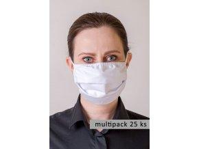 Bílá ochranná rouška na obličej s oušky (sada 25 ks)