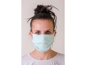 Mátová dámská ochranná rouška na obličej s oušky