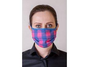 Kostkovaná dámská ochranná rouška na obličej s oušky