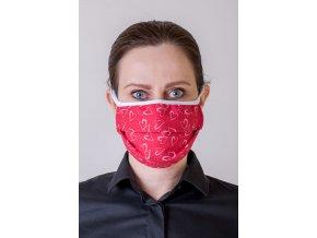 Červená dámská ochranná rouška na obličej se srdíčky a s oušky