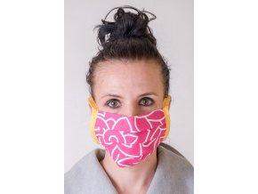 Růžová ochranná rouška na obličej s kapsou (se šňůrami)