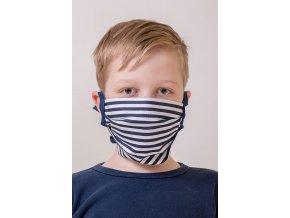 Pruhovaná ochranná rouška na obličej s kapsou (se šňůrami)