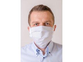 Jemně mřížkovaná bílá ochranná rouška na obličej s kapsou (se šňůrami)