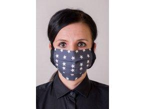 Modrá ochranná rouška na obličej s kapsou a s hvězdami (se šňůrami)