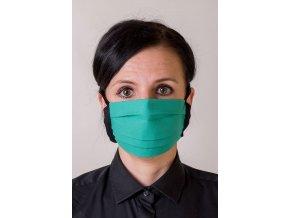 Zelená ochranná rouška na obličej s kapsou (se šňůrami)