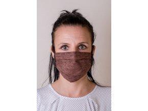 Hnědá jemně vzorovaná ochranná rouška na obličej se šňůrami