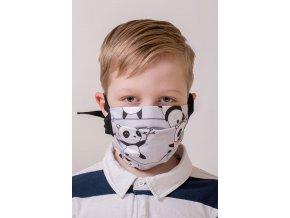 Šedá dětská ochranná rouška na obličej s pandou a s kapsou (se šňůrami)
