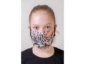 Hnědá dětská ochranná rouška na obličej s tygřím vzorem a šňůrami