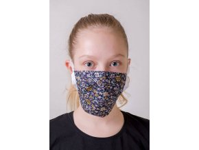 Květovaná dětská ochranná rouška na obličej se šňůrami