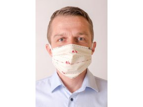Smetanová pánská ochranná rouška na obličej se vzorem - Motorky (s gumičkami)