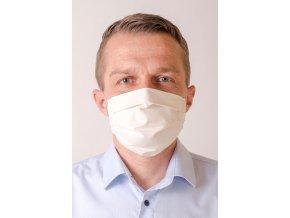 Smetanová antibakteriální pánská ochranná rouška na obličej s kapsou (s gumičkami)