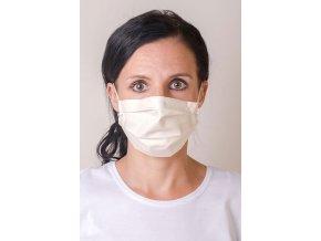 Smetanová antibakteriální dámská ochranná rouška na obličej s kapsou a gumičkami