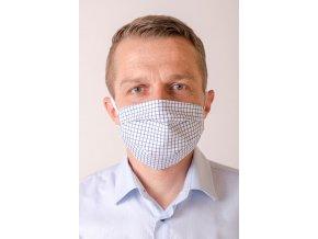 Bílá pánská ochranná rouška na obličej s modrou mřížkou (s gumičkami)