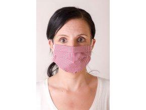 Bordó proužkovaná dámská ochranná rouška na obličej s gumičkami