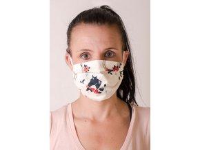 Smetanová dámská ochranná rouška na obličej se vzorem - Kůň s podkovou (s gumičkami)