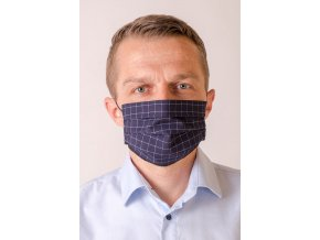 Tmavě modrá pánská ochranná rouška na obličej se světlou mřížkou (s gumičkami)