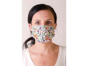 Bílá dámská ochranná rouška na obličej se vzorem - Zelenina (s gumičkami)