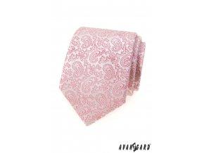Světle pudrová luxusní pánská kravata se vzorem