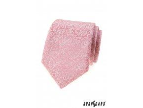 Pudrová luxusní pánská kravata se vzorem