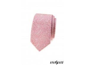 Pudrová luxusní slim pánská kravata s bílým vzorem
