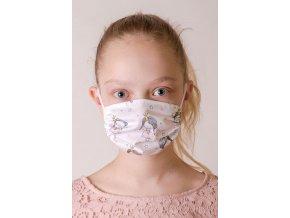 Bílá dětská ochranná rouška na obličej se vzorem princezny (s gumičkami