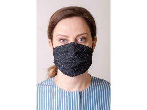 Černá dámská ochranná rouška na obličej se vzorem - Noty (s gumičkami)