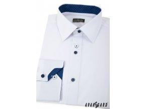 Bílá pánská společenská slim fit košile, dl. ruk., 125-0175