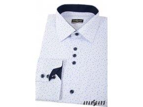 Bílá pánská společenská slim fit košile se vzorkem, dl. ruk., 125-0176