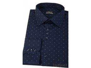 Tmavě modrá pánská slim fit košile, dl. ruk., 125-3110