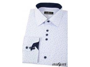 Bílá pánská společenská košile se vzorkem, dl. ruk., 511-0176