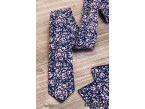 Tmavě modrá luxusní pánská slim kravata s květy