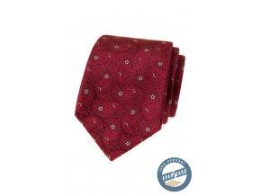 Bordó hedvábná pánská kravata s květy + dárková krabička