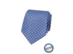 Modrá hedvábná pánská kravata se vzorem + dárková krabička