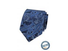 Modrá hedvábná pánská kravata s výrazným vzorem + dárková krabička
