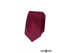 Červená pánská slim kravata se vzorem
