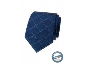Modrá jemně károvaná hedvábná pánská kravata + dárková krabička