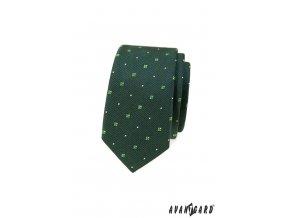 Zelená pánská slim kravata se vzorem