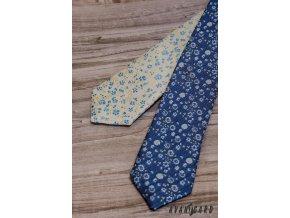 Světle žlutá pánská slim kravata s květy