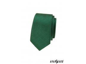 Zelená pánská slim kravata s vroubkovanou strukturou