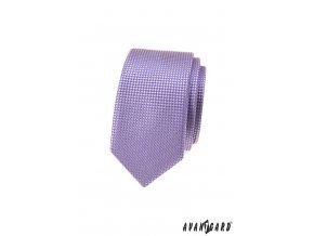 Lila pánská slim kravata s šachovnicovým vzorkem