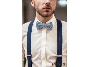 Světle modrý pánský motýlek se vzorem + kapesníček do saka