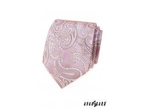 Světle růžová luxusní pánská kravata s šedým vzorem