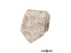 Béžová luxusní pánská kravata se vzorem