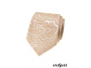 Béžová vzorovaná luxusní pánská kravata