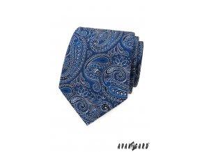 Zářivě modrá luxusní pánská kravata se vzorem
