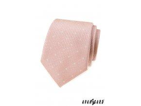 Světle pudrová luxusní pánská slim kravata se vzorem