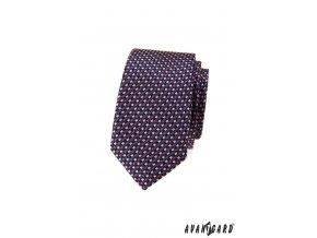 Tmavě modrá luxusní pánská slim kravata s šachovnicovým vzorem