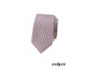 Pudrová luxusní pánská slim kravata s klikatým vzorem