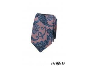 Starorůžová luxusní pánská slim kravata s modrým výrazným vzorem